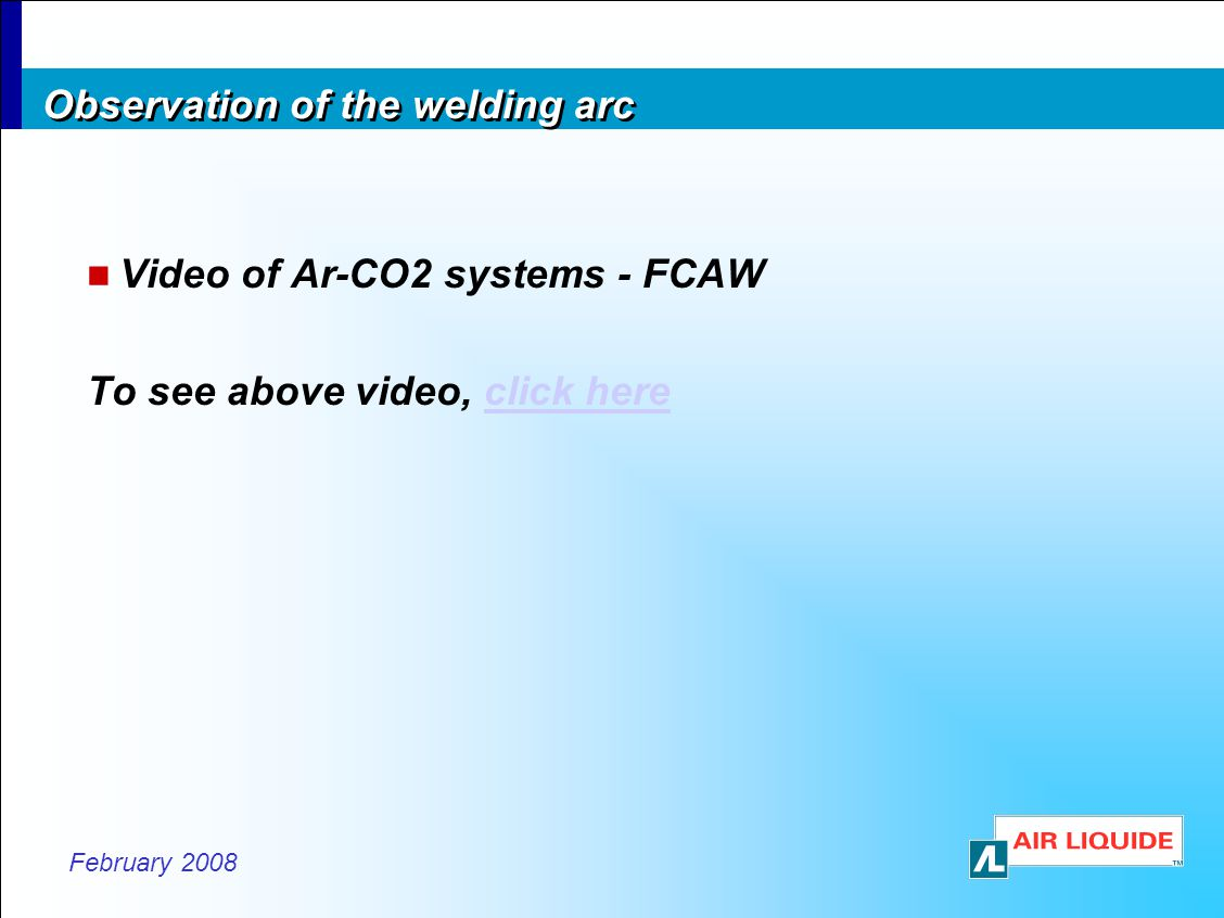 Observation of the welding arc