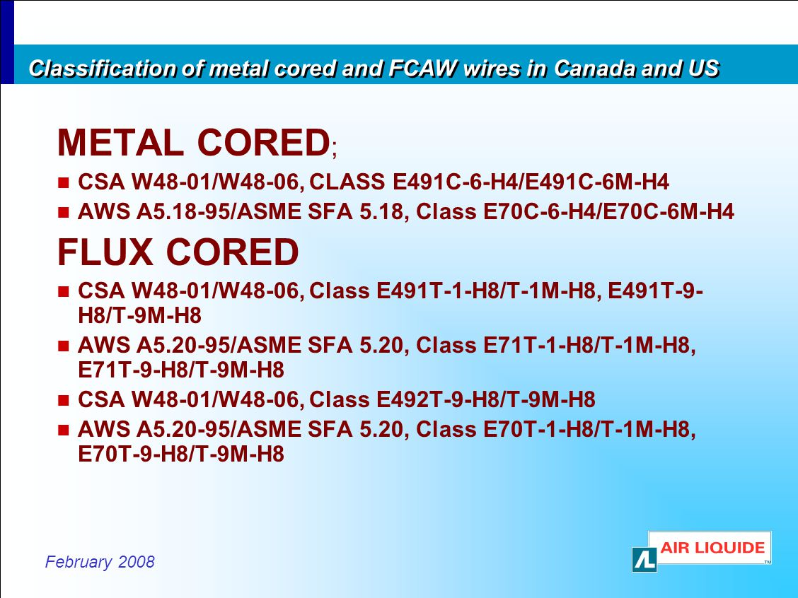Classification of metal cored and FCAW wires in Canada and US