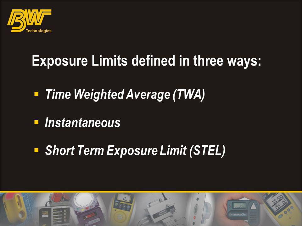 Exposure Limits defined in three ways:
