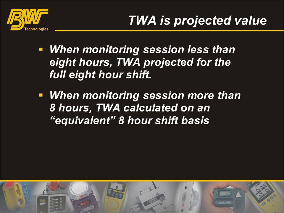 TWA is projected value When monitoring session less than eight hours, TWA projected for the full eight hour shift.