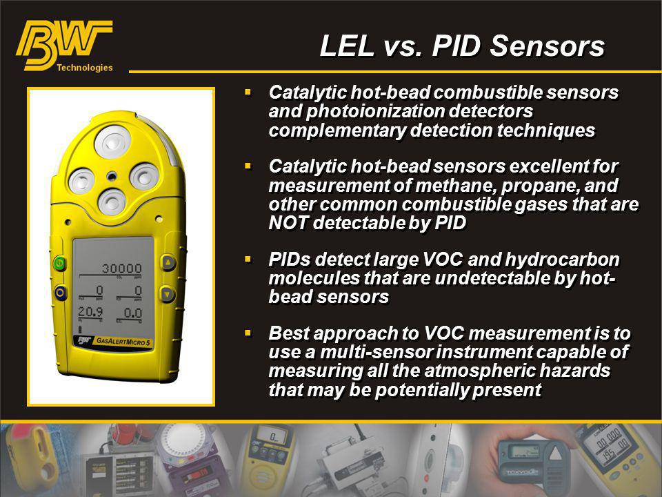 LEL vs. PID Sensors Catalytic hot-bead combustible sensors and photoionization detectors complementary detection techniques.