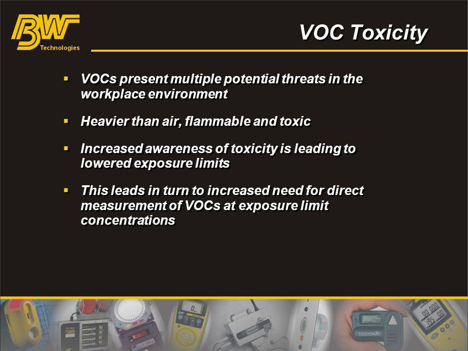 VOC Toxicity VOCs present multiple potential threats in the workplace environment. Heavier than air, flammable and toxic.