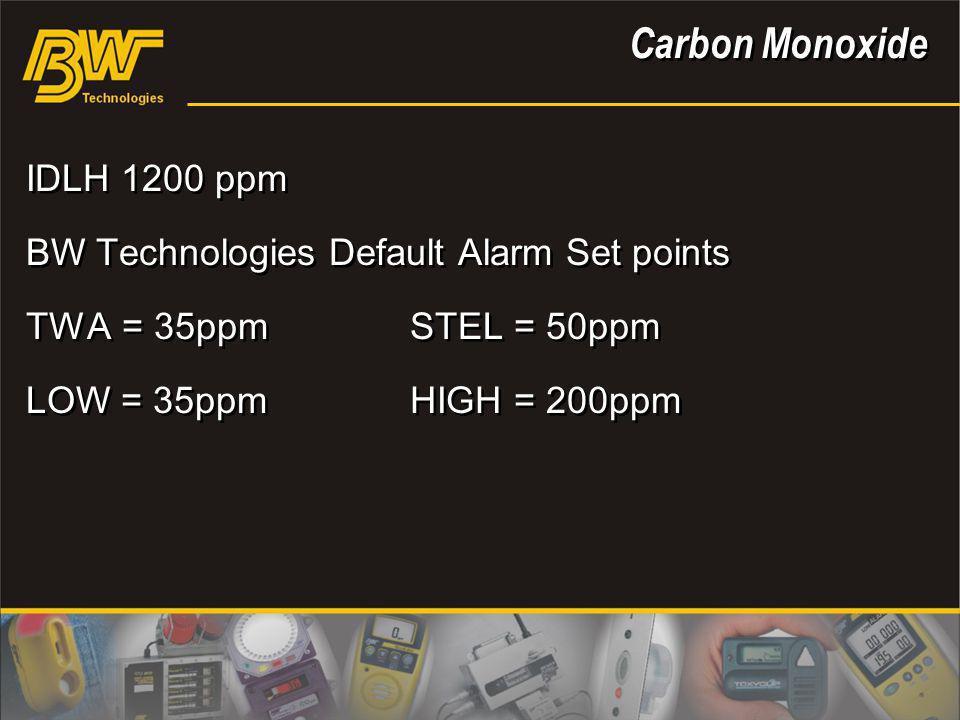Carbon Monoxide IDLH 1200 ppm BW Technologies Default Alarm Set points