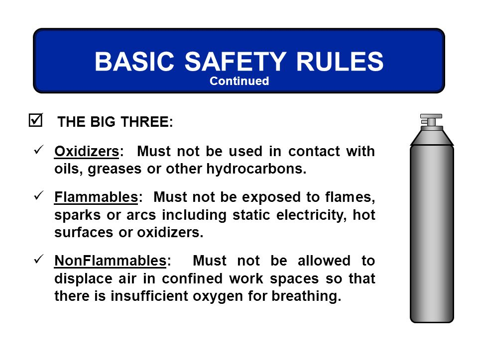 BASIC SAFETY RULES THE BIG THREE: