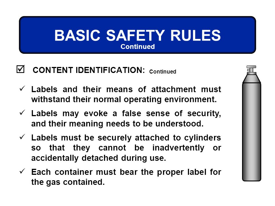 BASIC SAFETY RULES CONTENT IDENTIFICATION: