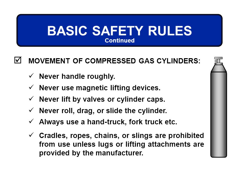 BASIC SAFETY RULES MOVEMENT OF COMPRESSED GAS CYLINDERS: