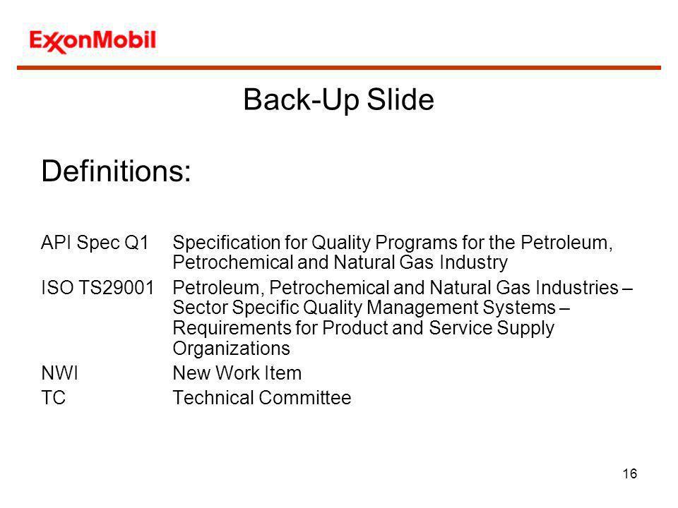 Back-Up Slide Definitions:
