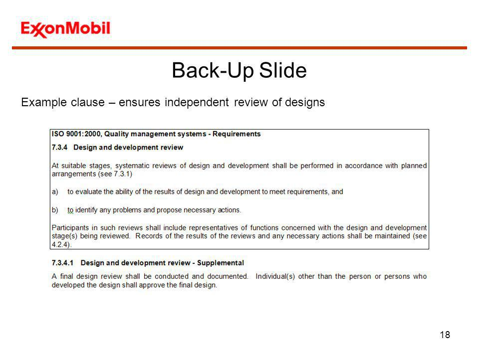 Back-Up Slide Example clause – ensures independent review of designs
