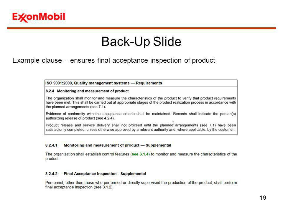 Back-Up Slide Example clause – ensures final acceptance inspection of product