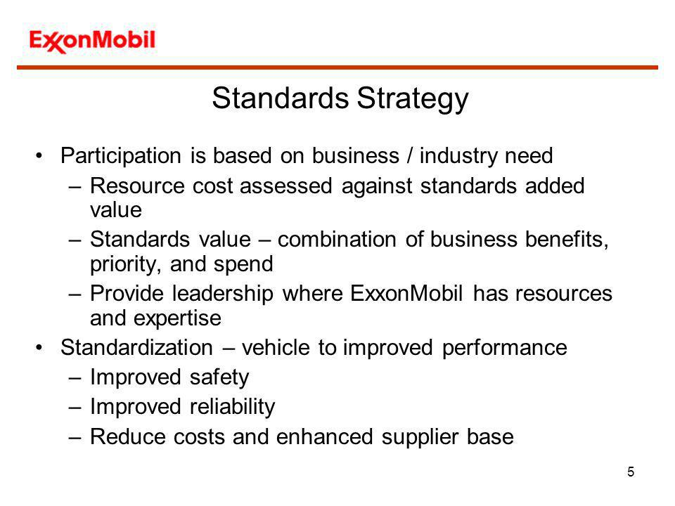 Standards Strategy Participation is based on business / industry need