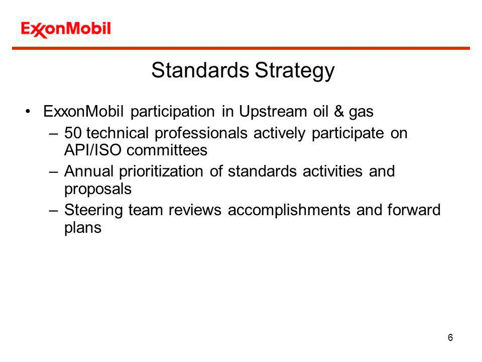Standards Strategy ExxonMobil participation in Upstream oil & gas