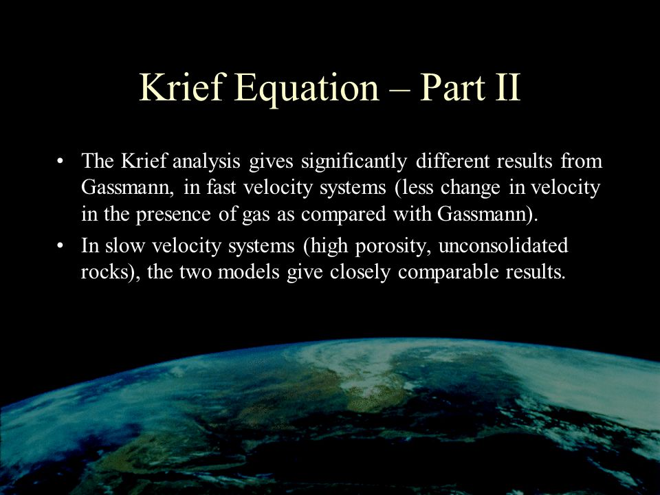 Krief Equation – Part II