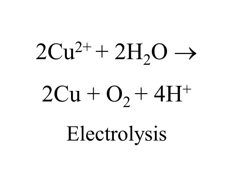 2Cu2+ + 2H2O  2Cu + O2 + 4H+ Electrolysis