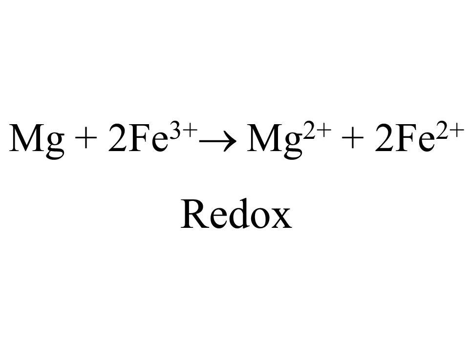 Mg + 2Fe3+ Mg2+ + 2Fe2+ Redox