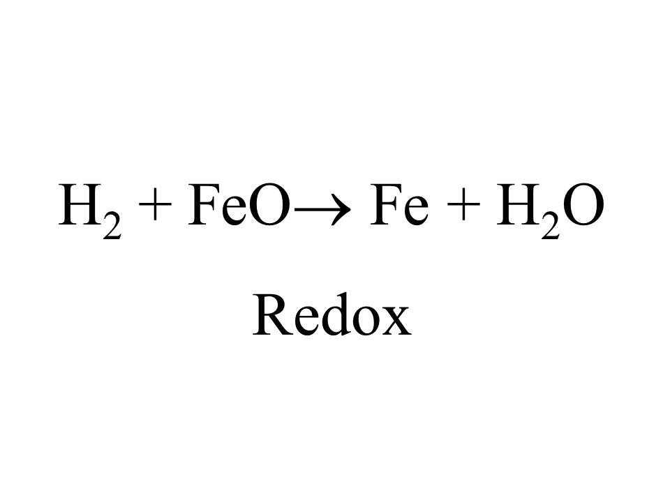 H2 + FeO Fe + H2O Redox