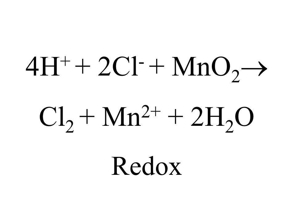 4H+ + 2Cl- + MnO2 Cl2 + Mn2+ + 2H2O Redox