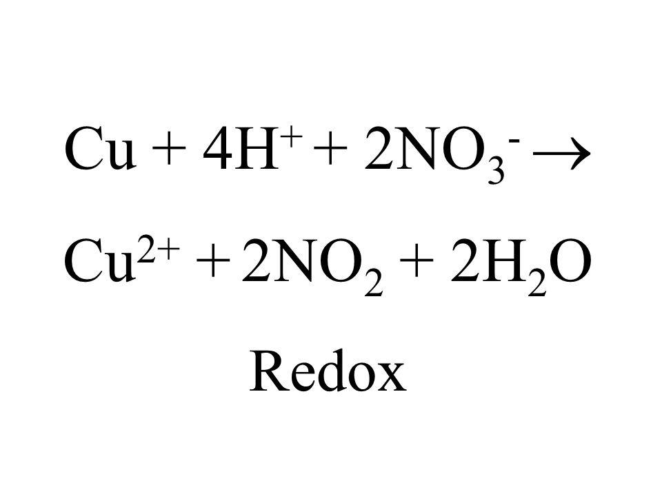 Cu + 4H+ + 2NO3-  Cu2+ + 2NO2 + 2H2O Redox
