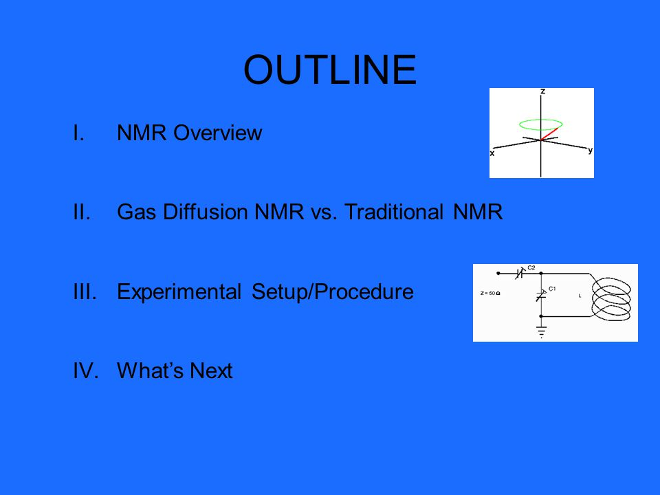 OUTLINE NMR Overview Gas Diffusion NMR vs. Traditional NMR