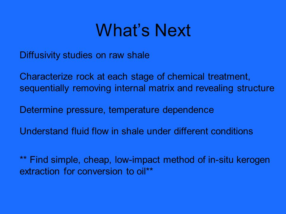 What's Next Diffusivity studies on raw shale
