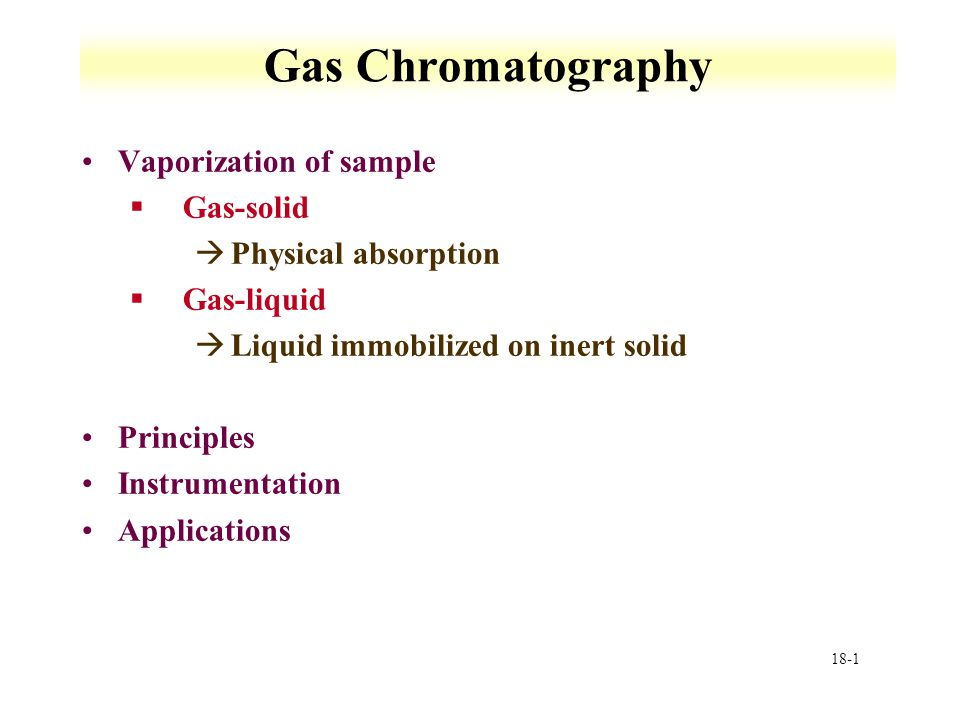Gas Chromatography Vaporization of sample Gas-solid