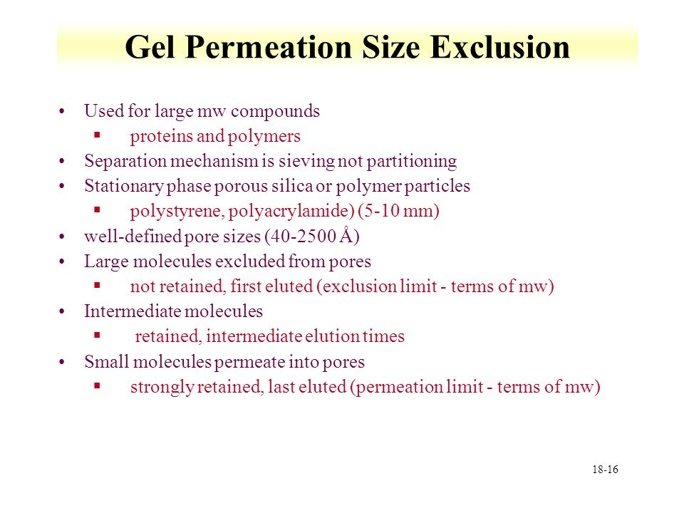 Gel Permeation Size Exclusion
