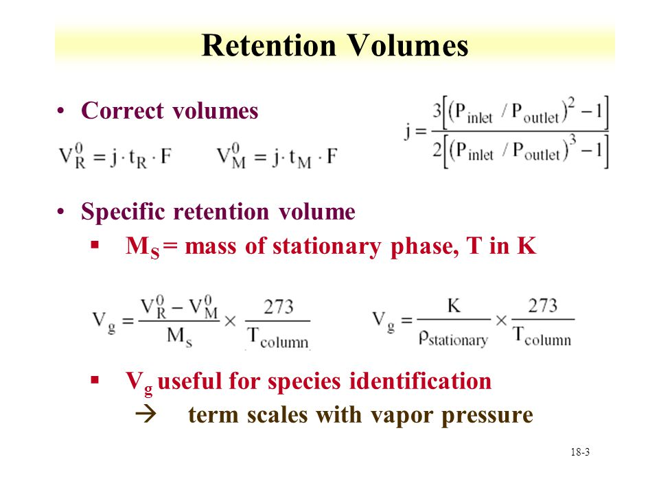 Retention Volumes Correct volumes Specific retention volume