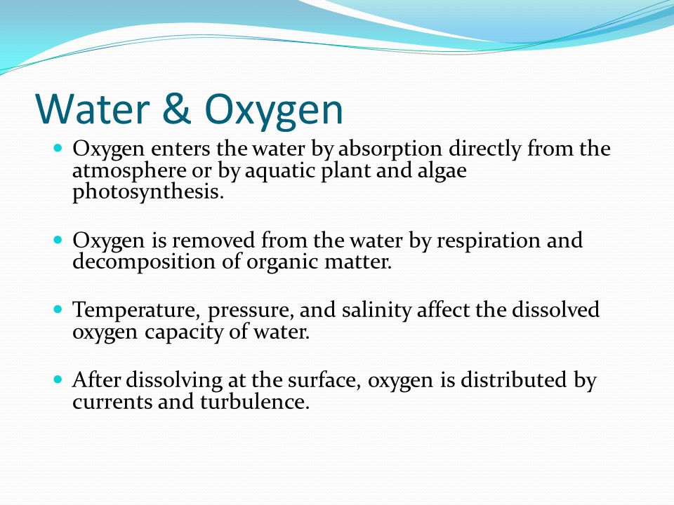 Water & Oxygen Oxygen enters the water by absorption directly from the atmosphere or by aquatic plant and algae photosynthesis.