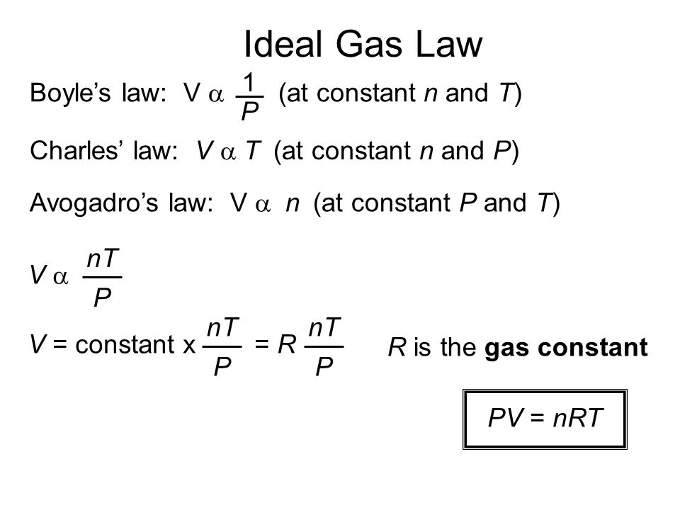 Ideal Gas Law 1 Boyle's law: V a (at constant n and T) P