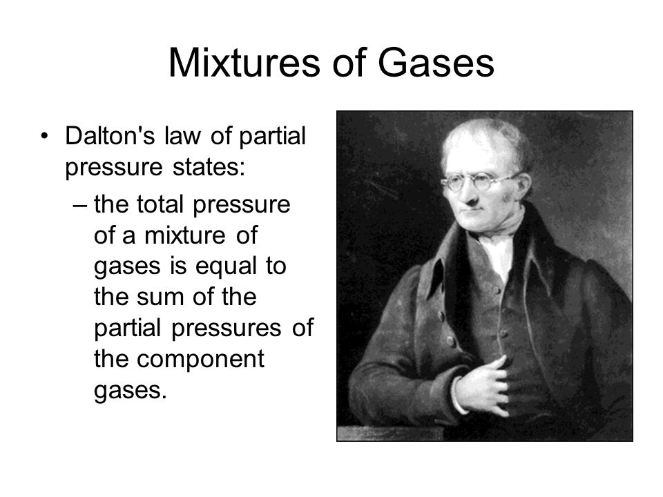 Mixtures of Gases Dalton s law of partial pressure states: