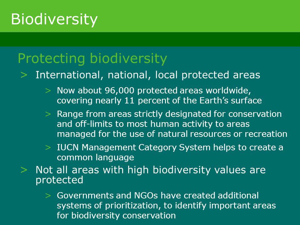 Biodiversity Protecting biodiversity