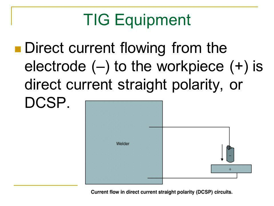 TIG Equipment Direct current flowing from the electrode (–) to the workpiece (+) is direct current straight polarity, or DCSP.
