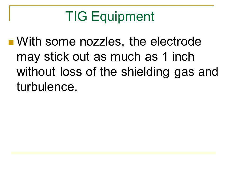 TIG Equipment With some nozzles, the electrode may stick out as much as 1 inch without loss of the shielding gas and turbulence.
