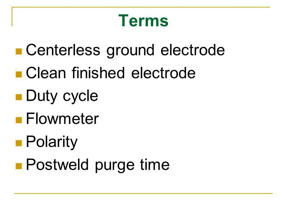 Terms Centerless ground electrode Clean finished electrode Duty cycle