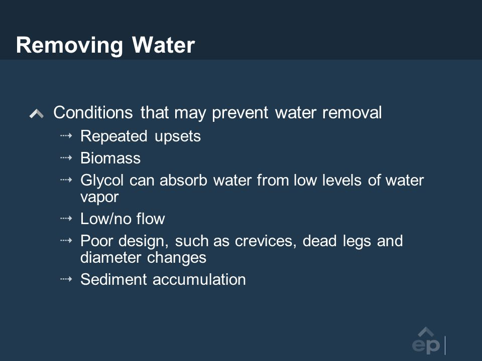 Removing Water Conditions that may prevent water removal