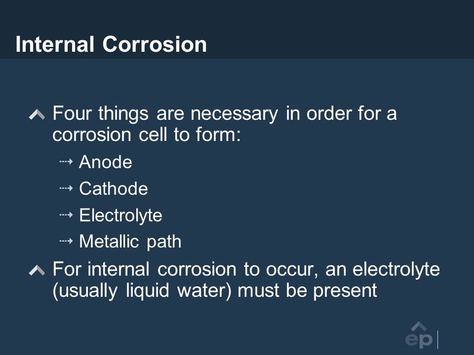 Internal Corrosion Four things are necessary in order for a corrosion cell to form: Anode. Cathode.