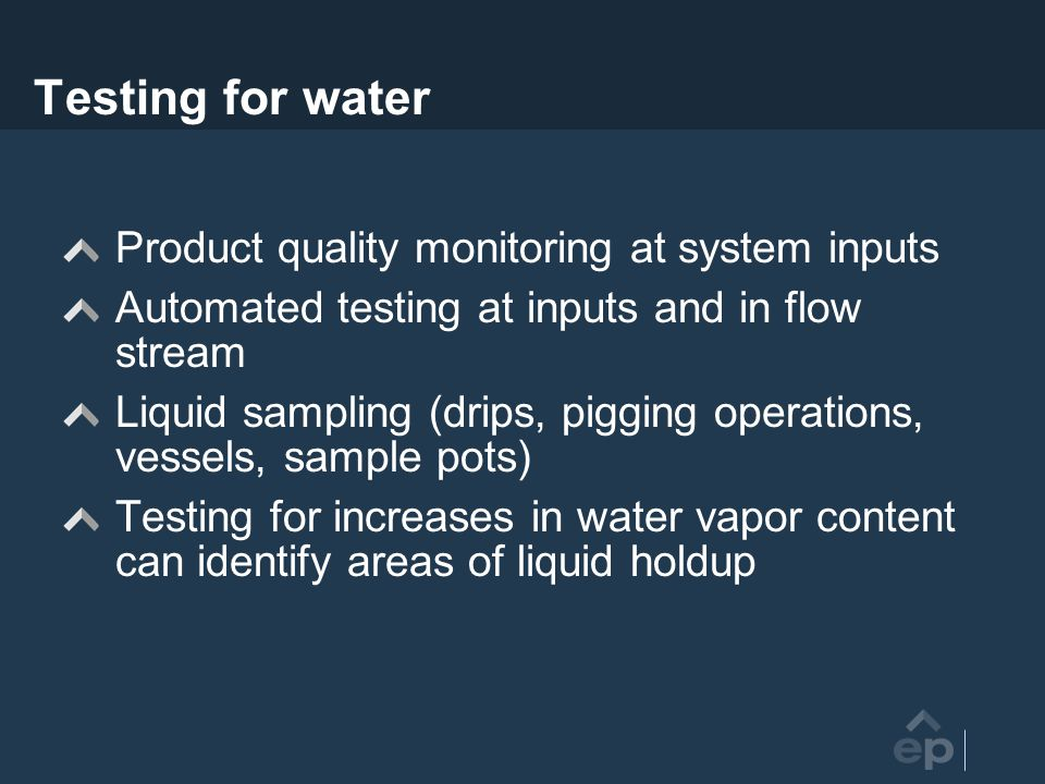 Testing for water Product quality monitoring at system inputs