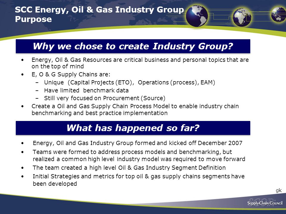 SCC Energy, Oil & Gas Industry Group Purpose