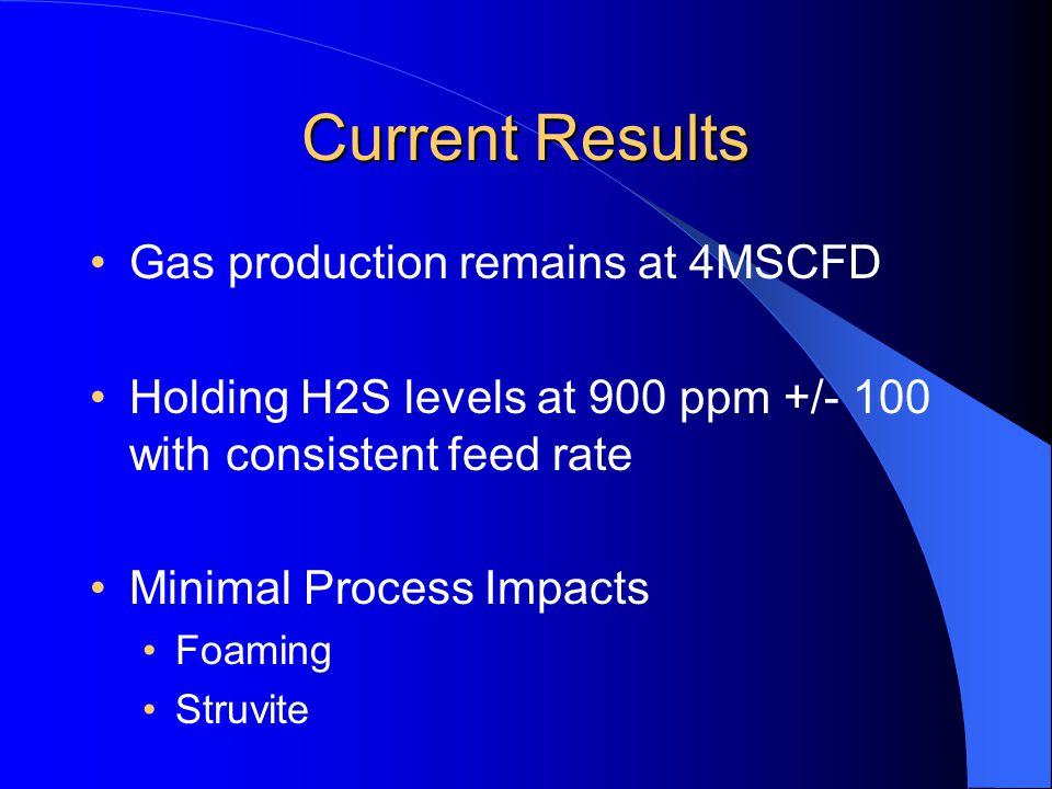 Current Results Gas production remains at 4MSCFD
