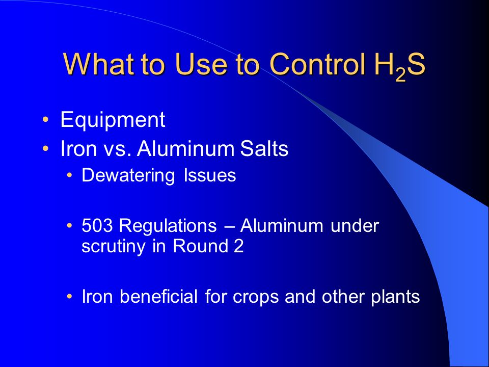 What to Use to Control H2S