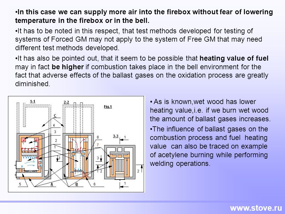In this case we can supply more air into the firebox without fear of lowering temperature in the firebox or in the bell.