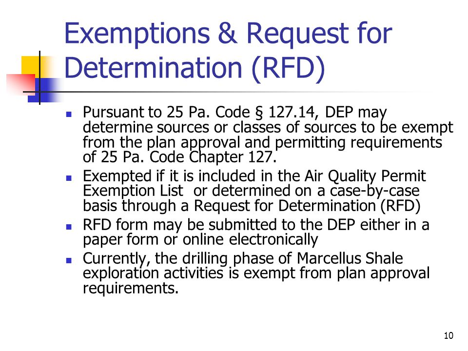 Exemptions & Request for Determination (RFD)