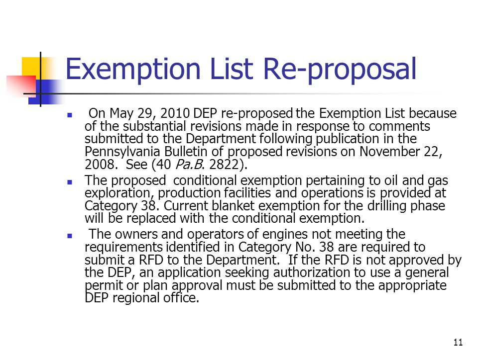 Exemption List Re-proposal