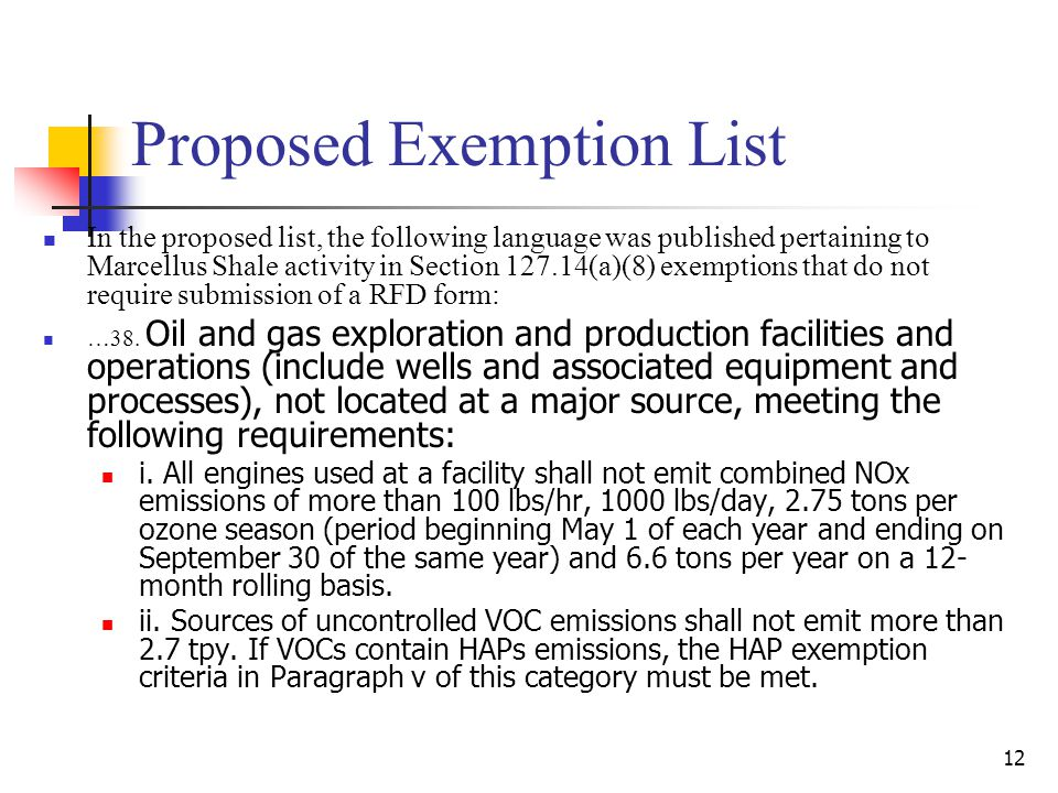 Proposed Exemption List