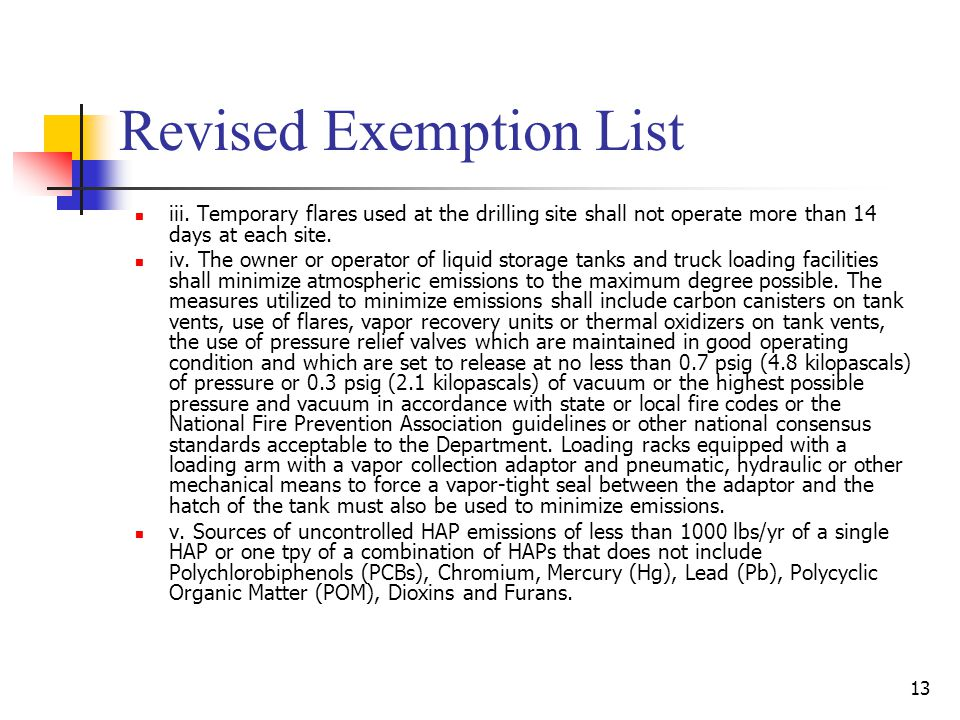 Revised Exemption List