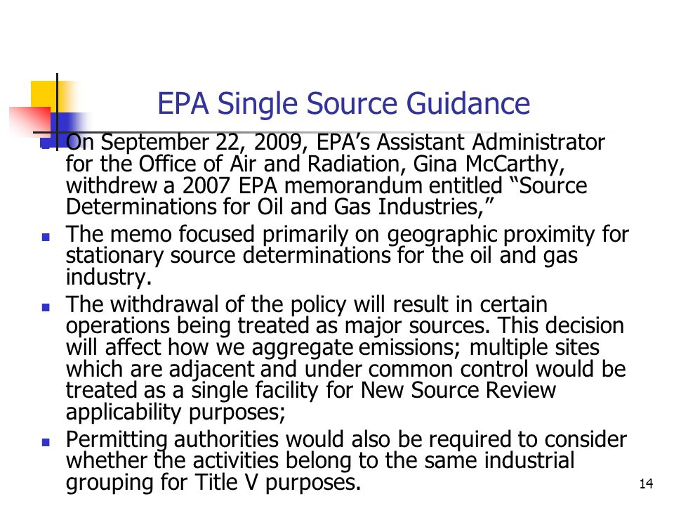EPA Single Source Guidance