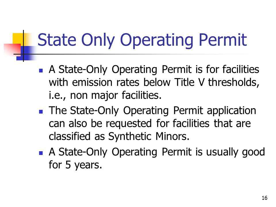 State Only Operating Permit