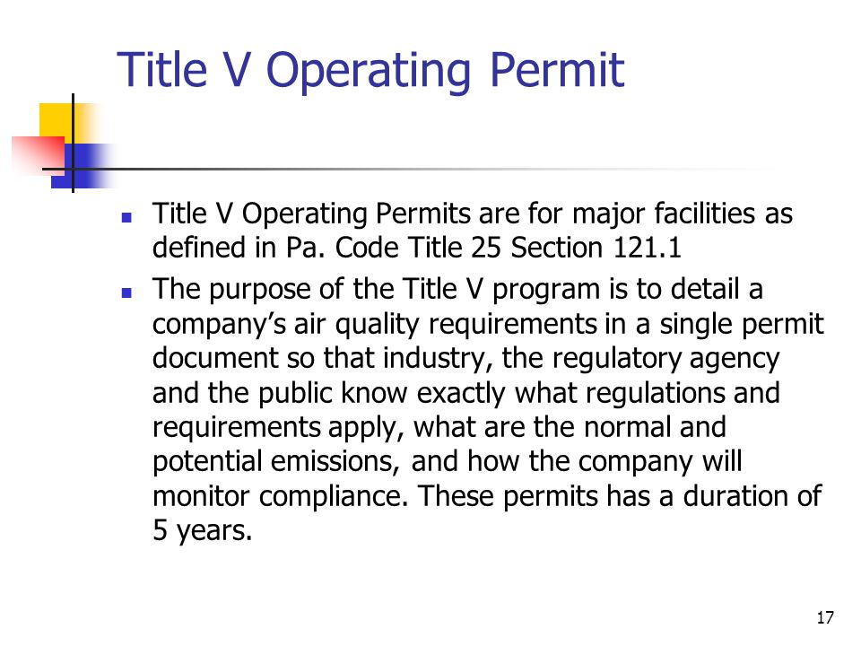 Title V Operating Permit