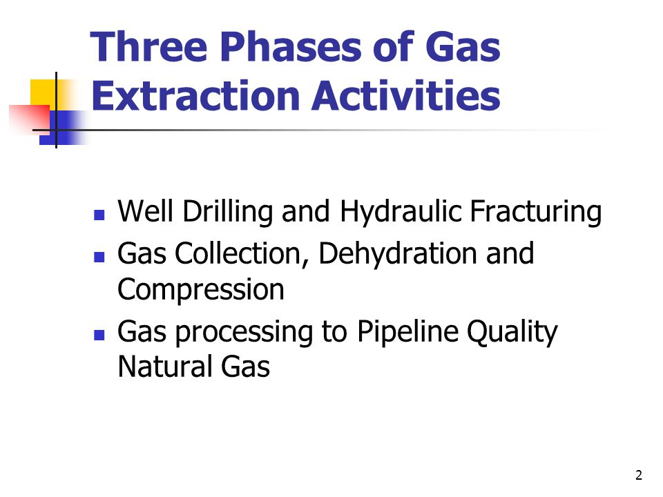 Three Phases of Gas Extraction Activities