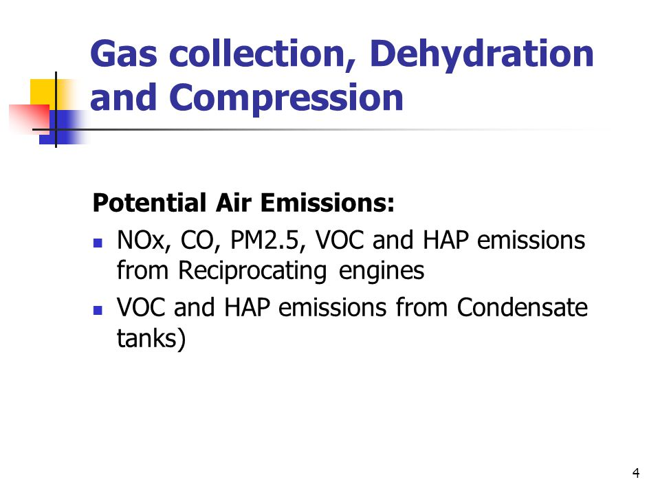 Gas collection, Dehydration and Compression