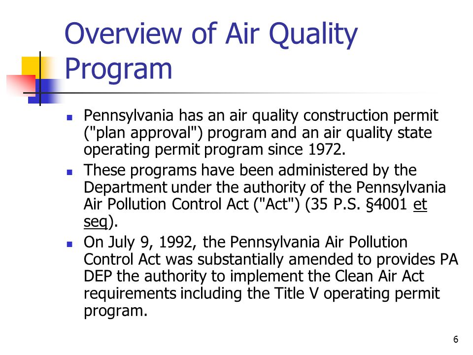 Overview of Air Quality Program